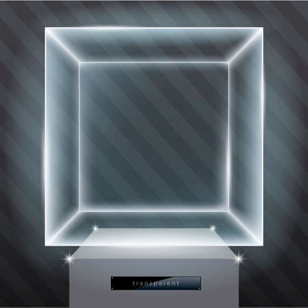 Exhibition showcasing a hologram.  Vector graphic with transparency effect.