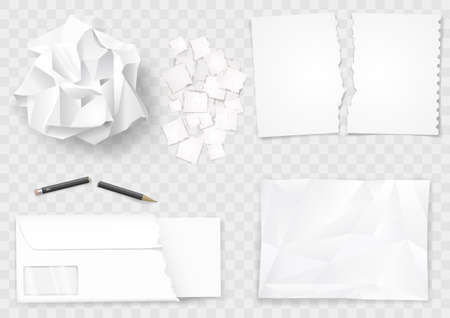 Illustration pour Set of different crumpled and torn sheets of paper. Broken pencil. Vector graphics. - image libre de droit