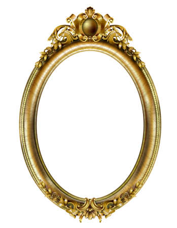 Illustration pour Golden oval classic rococo baroque frame. Vector graphics. Luxury frame for painting or postcard cover - image libre de droit