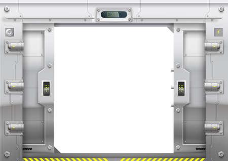 Illustration pour Futuristic metal armoured with sliding gate open - image libre de droit