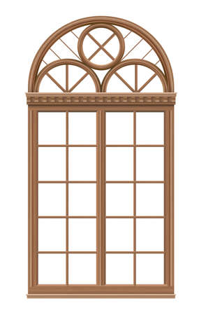 Illustration pour Classic arched wooden window for a balcony - image libre de droit
