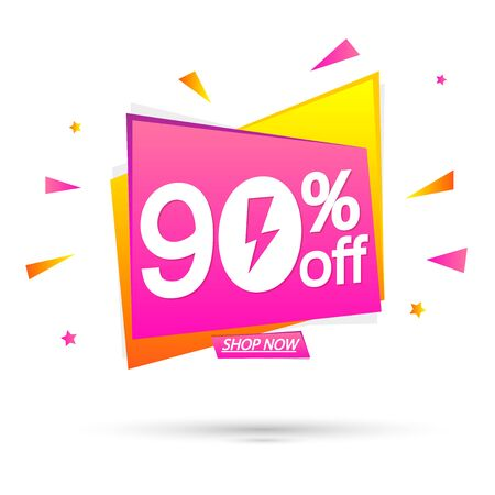 Illustration pour Sale 90% off, special offer, banner design template, discount tag, app icon, vector illustration - image libre de droit