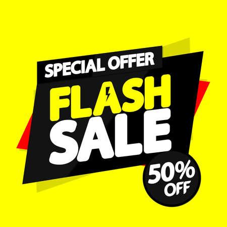 Illustration pour Flash Sale, 50% off, banner design template, discount tag, promotion app icon, vector illustration - image libre de droit