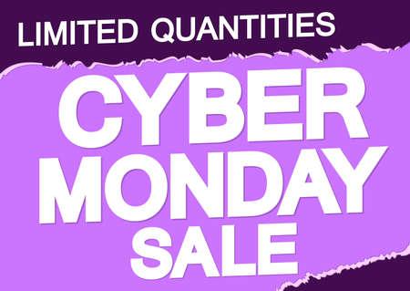 Illustration pour Cyber Monday, sale poster design template, special offer, vector illustration - image libre de droit