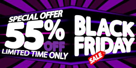 Illustration pour Black Friday Sale 55% off, discount poster design template, final season offer, promotion banner, vector illustration - image libre de droit