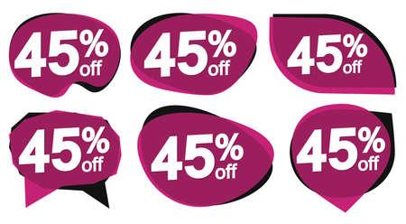 Illustration pour Set Sale 45% off banners, discount tags design template, special offer, end of season deal, app icons, vector illustration - image libre de droit