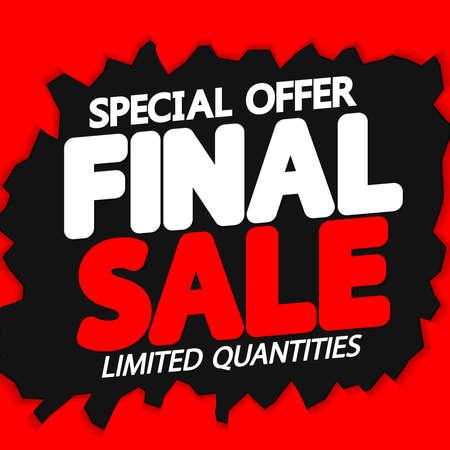 Illustration pour Final Sale, poster design template, discount banner, vector illustration - image libre de droit