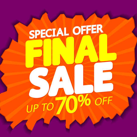 Illustration pour Final Sale up to 70% off, poster design template, special offer, final season discount banner, vector illustration - image libre de droit