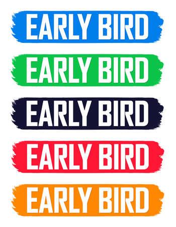 Illustration pour Set Early Bird Sale banners, discount tags design template, vector illustration - image libre de droit