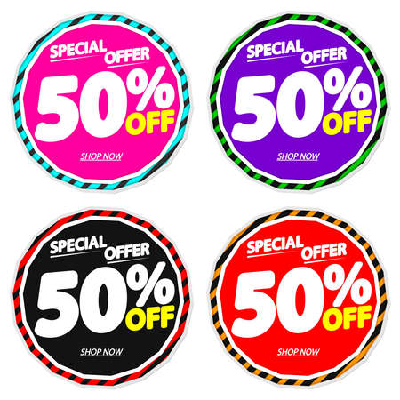 Illustration pour Set Sale 50% off banners, discount tags design template, special offer, end of season deal, app icons, vector illustration - image libre de droit
