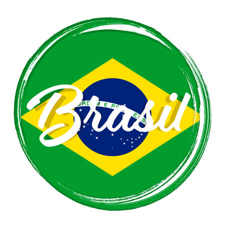 Illustration pour Brasil, flag of Brazil, banner with grunge brush. Independence Day. Background with national country symbol. Vector illustration. - image libre de droit