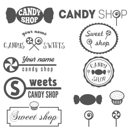 Set of vintage  and  elements for sweet shop and candy shop