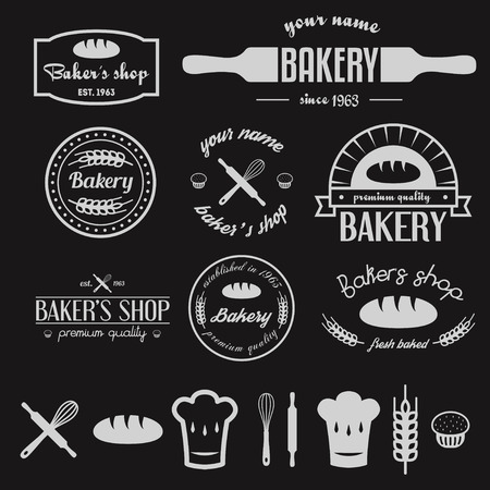 Illustration pour Set of vintage bakery and design elements - image libre de droit