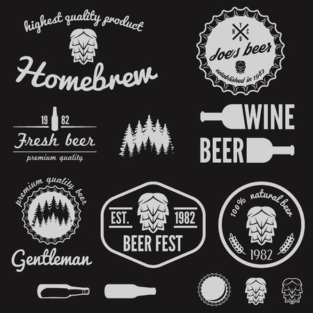Set of vintage elements for beer, beer shop, home brew, tavern, bar, cafe and restaurant