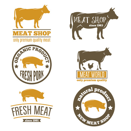 Set of vntage labels templates of butchery meat shop