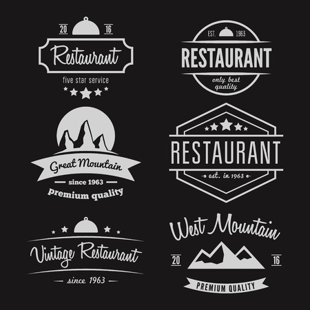 Photo pour Set of different logo and logotype elements for restaurant, cafe, cafeteria, bar or company - image libre de droit