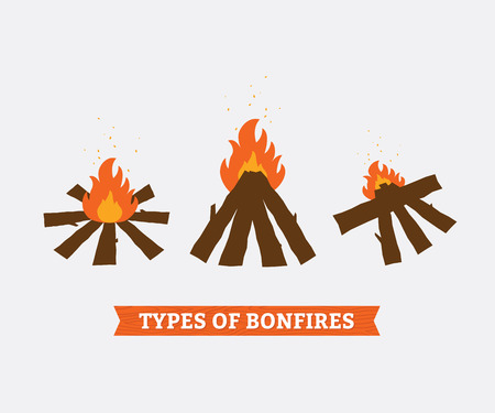 Three types of campfires for camping. Fire and firewood. Vector illustration