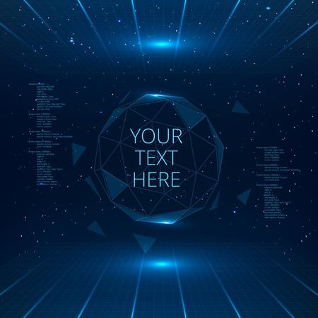 Illustration pour Futuristic interface with vector sphere with triangles. Futuristic technology background. - image libre de droit