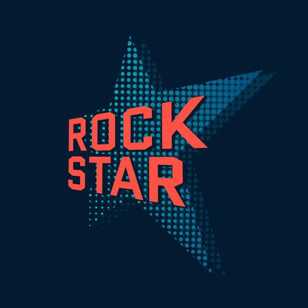 Rock star, music typography. t-shirt design, vector illustration