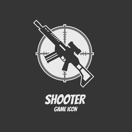Shooter or action game icon. Rifle assault. Vector illustration