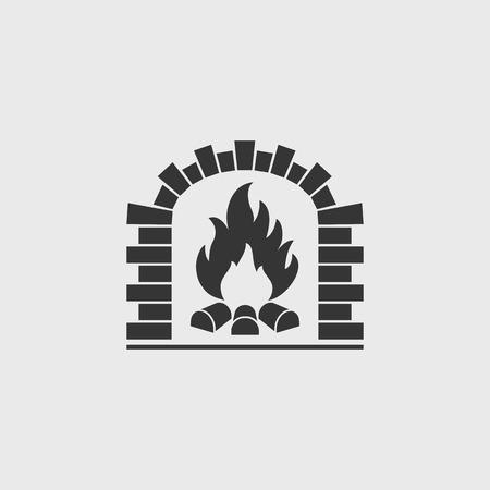 Brick oven vector icon. Firewood oven black silhouette