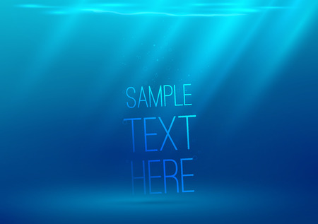 Underwater background with sun rays. Vector illustration. Space for text or object.
