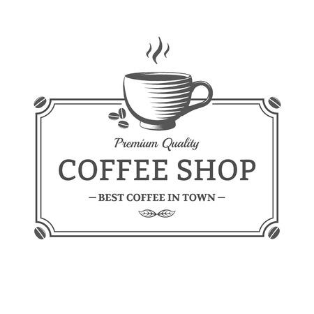 Vector vintage Coffee Shop sign. Emblem for shop, cafe