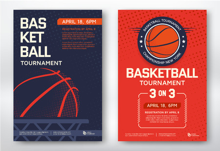 Ilustración de Basketball tournament modern sports posters design. Vector illustration. - Imagen libre de derechos