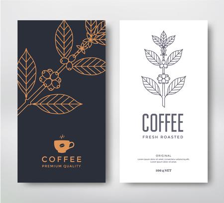 Ilustración de Packaging design for a coffee. Vector template. Line style vector illustration. Coffee branch. - Imagen libre de derechos