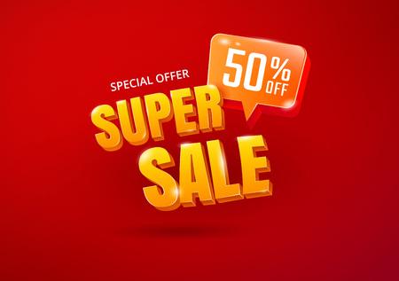 Illustration pour Super Sale poster. Sale 3d typography. Advertising lettering. Vector - image libre de droit