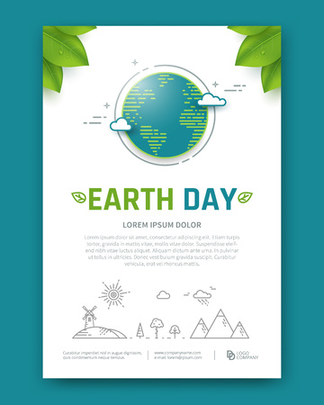Illustration for Earth day brochure or poster vector template. Planet in linear style. - Royalty Free Image