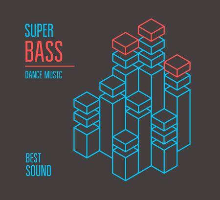 Illustration pour Super bass music cover. Isometric equalizer. Vector - image libre de droit