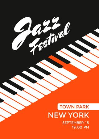 Ilustración de Jazz music festival poster design template. Piano keys. Vector illustration placard for jazz concert. - Imagen libre de derechos