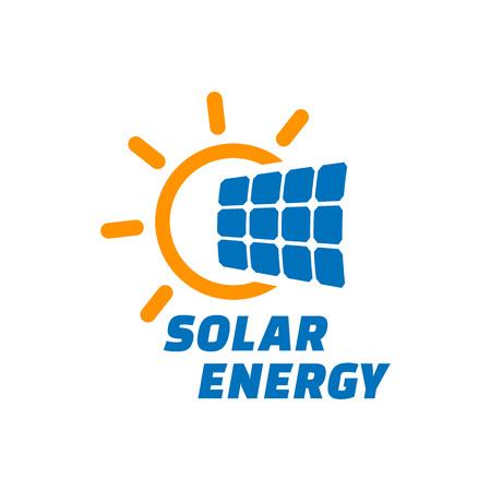 Ilustración de Solar energy logo or icon. Vector solar panel sign. - Imagen libre de derechos