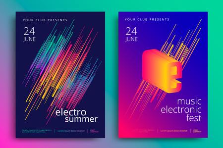 Ilustración de Electronic music fest and electro summer poster. Modern club party flyer. Abstract gradients music background. - Imagen libre de derechos