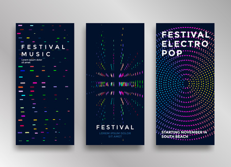Ilustración de Electronic music festival minimal poster design. Modern colorful dotted lines background for flyer, cover. Vector illustration - Imagen libre de derechos