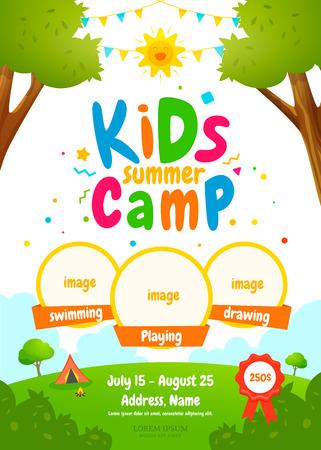 Ilustración de Kids summer camp poster - Imagen libre de derechos