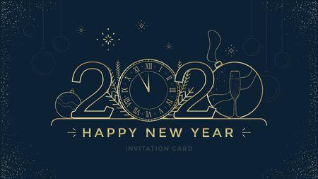Ilustración de Happy New Year 2020 greeting card design with stylized Golden clock and decoration on dark background. Merry Christmas golden line illustration. - Imagen libre de derechos