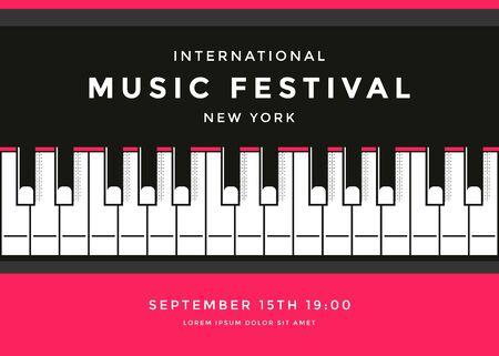 Illustration pour Music festival poster design with piano keys - image libre de droit