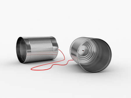 3d illustration of can phone with red cable