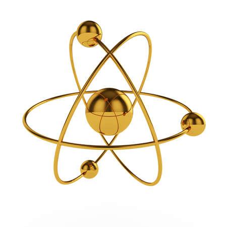 3d illustration of golden atom model isolated on white background