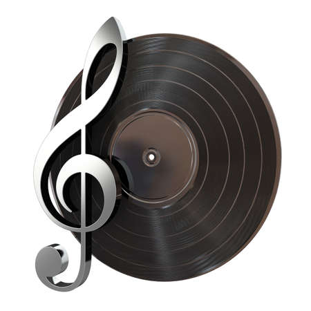 3d render of vinyl record with music key