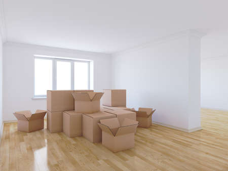 Photo for 3d render of moving boxes in empty room - Royalty Free Image