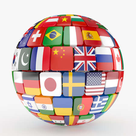 3d illustration of flags collection sphere