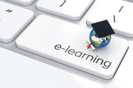 3d render of graduation cap with Earth icon on the keyboard. Education concept