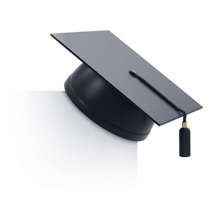 3d render of graduation cap and blank board. Isolated on white background