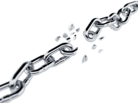 3d render of broken chain isolated on white background