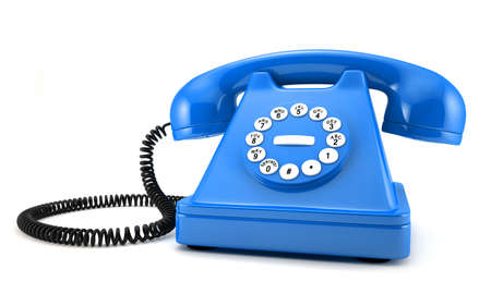 d illustration of blue old-fashioned phone on white background