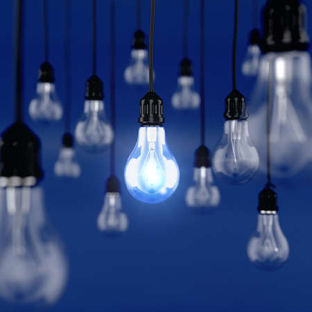 3d render of glowing light bulb. Ideas conceptの写真素材