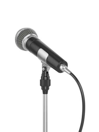 3d render of microphone isolated on white background